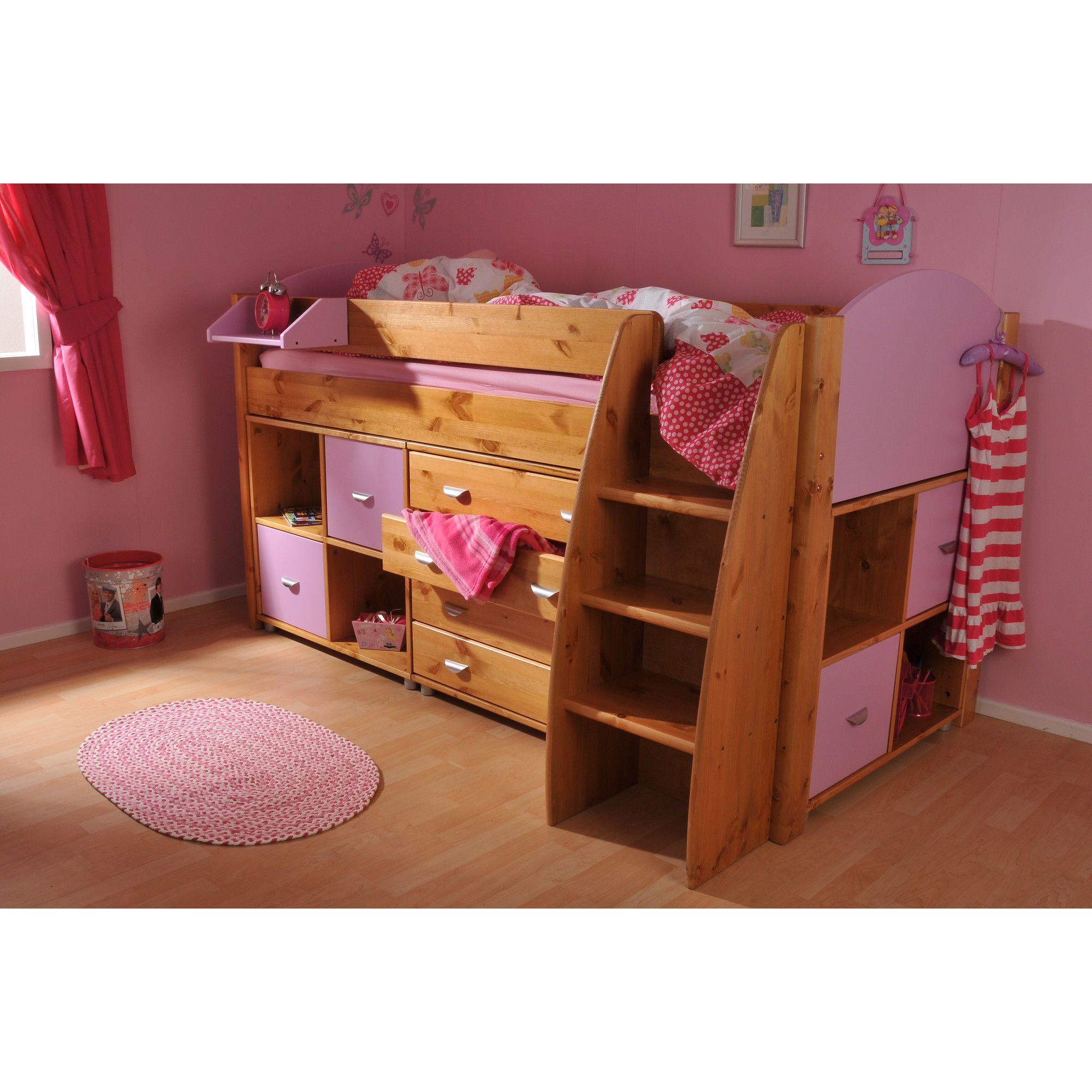 Stompa Rondo Mid Sleeper with 4 Drawer Chest and Cube Units - Blue - White at Tesco Direct