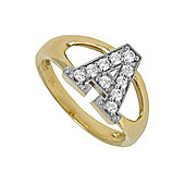 Jewelco London 9ct Gold Ladies' Identity ID Initial CZ Ring, Letter A - Size L