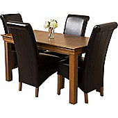 French Chateau Rustic Solid Oak 150 cm Dining Table with 4 Black Montana Leather Chairs