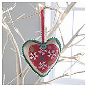 Gisela Graham Fabric Heart Snowflake Design Hanging Decoration
