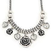 Vintage 'Rose&Heart' Mesh Charm Necklace In Burn Silver Metal - 40cm Length/ 6cm Extension