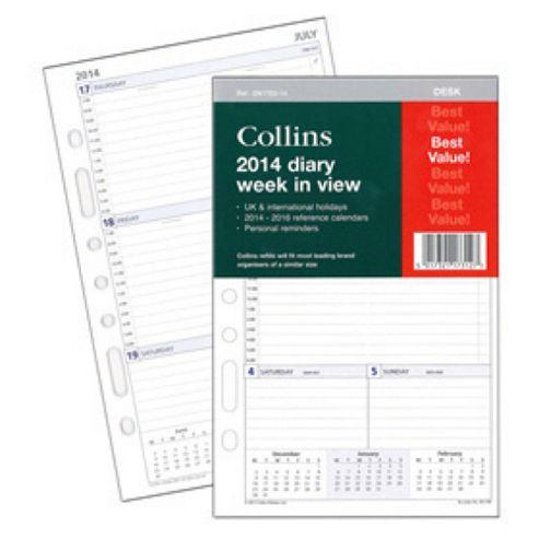 Collins A5 Desk Week To View 2014 Organiser Refill