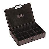 Brown Lidded 12 Section Cufflink Stacker