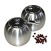 Globe - Steel Round Salt And Pepper Condiments Set - Silver