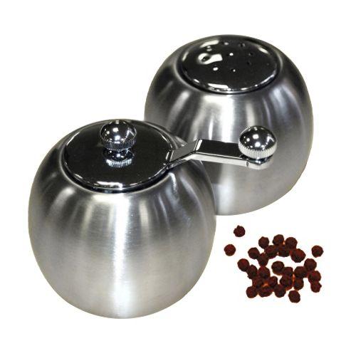 Globe - Steel Round Salt And Pepper Condiments Set - Silver