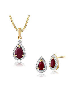 Gemondo 9ct Yellow Gold Ruby & Diamond Pear Cluster Stud Earrings & 45cm Necklace Set