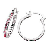 Jewelco London Rhodium-Plated Sterling Silver CZ Hoop Earrings