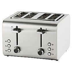 Tesco 4 Slice Toaster - White & Stainless Steel