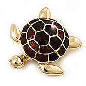 Gold Plated Brown Enamel 'Turtle' Brooch