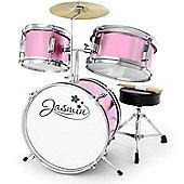 Jasmin Pink Junior Drum Kit - 3 Piece Drum Set, Sticks & Stool