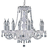 Georgian Chandelier Ceiling Light with Crystal Body and Drops