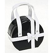 Medium Round Jewellery Box / Bag - Black / White