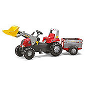 Rolly Junior RT Tractor And Frontloader And Farm Trailer - Red