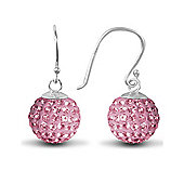 Jewelco London Sterling Silver Crystal 12mm Disco Dazzle Ball Drops Shamballa Earrings - Pink