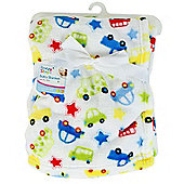 First Steps Supersoft Fleece Baby Cot Blanket Vehicles 75x100cm