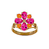 QP Jewellers Citrine & Pink Topaz Rafflesia Ring in 14K Gold