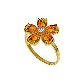 QP Jewellers Diamond & Citrine Foliole Ring in 14K Gold