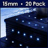MiniSun Pack of 20 Blue LED 15mm Round Decking Lights Kit
