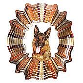 Iron Stop Designer Glitter German Shepherd Wind Spinner 10in