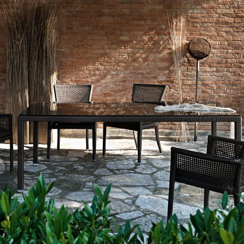 Varaschin Lotus Table with Glass Top by Varaschin R and D - 74 cm H x 160 cm W x 90 cm D - Dark Brown