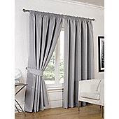 Dreamscene Luxury Faux Silk Blackout Curtains Ready Made Pencil Pleat Lined Free Tiebacks - Silver