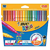 Bic Kids Visa Fine Tip Colouring Pens, 18 Pack