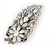 Oversized Clear Glass Floral Corsage Brooch In Burn Gold Metal - 11.5cm Length