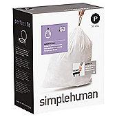 simplehuman Code P Drawstring Bin Liners, 50 pack