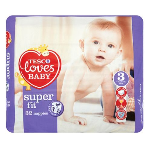 Tesco Loves Baby Super-Fit Nappies - Size 3 - Midi - Carry Pack - 32 Nappies
