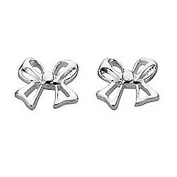 Girl's Silver Bow Stud Earrings