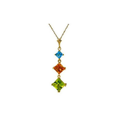 QP Jewellers 16in 0.68mm Whiteland Necklace with Blue Topaz, Citrine & Peridot Pendant in 14K Gold
