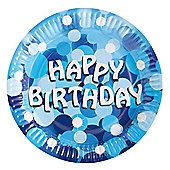 Blue Sparkle Happy Birthday Paper Plates