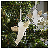 Frosted Glitter Cherub Hanging Decoration