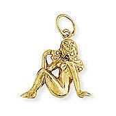 Jewelco London 9ct Light Yellow Gold - Virgo Charm Pendant -