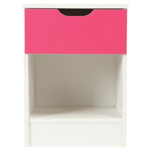 Jasper Bedside Table, White/Pink