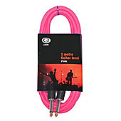 Rockburn 10ft (3Metre) Guitar Lead - Pink