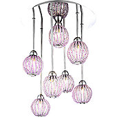 Home Essence Viola Glamorous 7 Light Semi-Flush Ceiling Light in Chrome