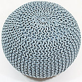 Kaikoo Large Knitted Pouffe Blue