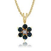 Gemondo 9ct Yellow Gold 0.36ct Triplet Opal & Diamond Floral Pendant on Chain
