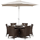 Savannah 6 Seat Round Dining Table and Chairs Rattan Garden Furniture Set