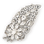 Oversized Clear Glass Floral Corsage Brooch In Silver Plating - 11.5cm Length