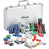 eSecure Professional 11.5g 300pcs Poker Set inc. Dealer Button, 2 Card Decks & Aluminium Carry Case