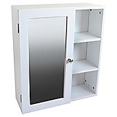 Single Mirror Door White Cabinet with Side Shelves