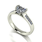 18ct White Gold 6.5mm Heart Moissanite Solitaire and Moissanite Set Shoulders