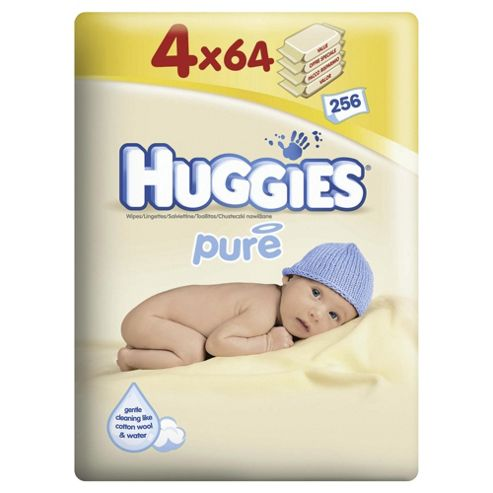 Huggies Pure Baby Wipes - Quads - 256 Pack