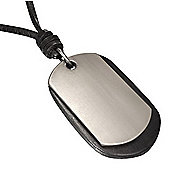 Urban Male Black Leather Double Dog Tag Necklace Adjustable Length