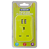 2 x USB Port Power Adaptor - Light Green - Status - Plug Through - 2100mA - 1 pk - in a Clam Shell
