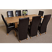 Seattle Solid Oak Extending 150 - 210 cm Dining Table with 8 Brown Lola Leather Chairs