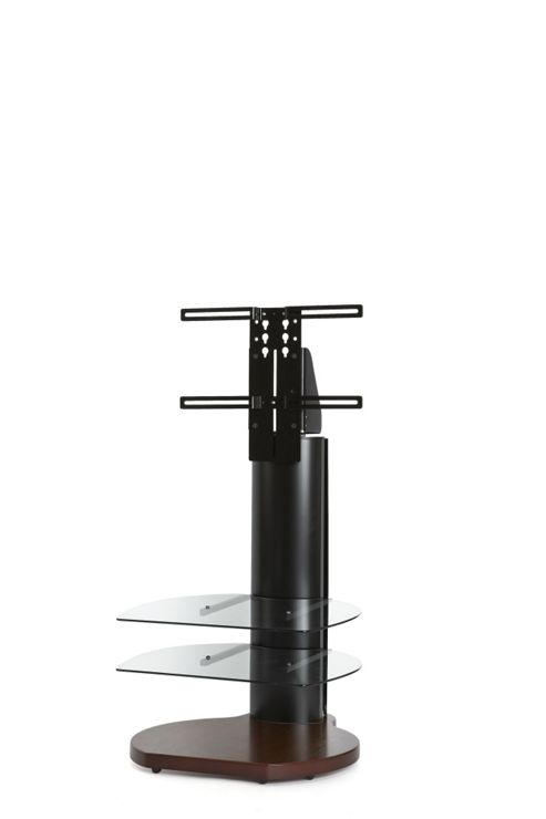 Off The Wall Origin II TV Stand - Walnut base / Black sides / Clear glass