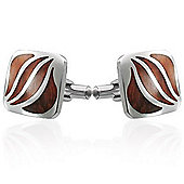 Urban Male Contemporary Stainless Steel Cufflinks Inlaid with Real Wood